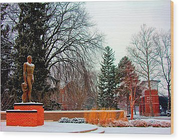 Sparty In Winter  Wood Print by John McGraw