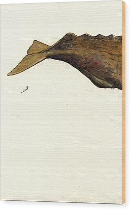 Sperm Whale Third Part Wood Print by Juan  Bosco