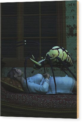 Spider Nightmare Wood Print by Daniel Eskridge