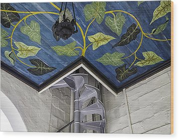 Spiral Stairs And Mural Wood Print by Lynn Palmer