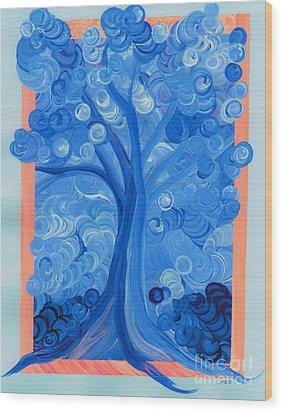 Spiral Tree Winter Blue Wood Print by First Star Art