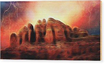 Spirit Mountain Wood Print by Ellen Heaverlo