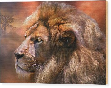Spirit Of The Lion Wood Print by Carol Cavalaris