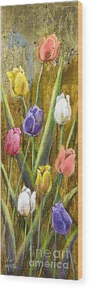 Splashy Tulips II With Gold Leaf By Vic Mastis Wood Print by Vic  Mastis