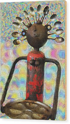 Spoon Woman Wood Print by Karon Melillo DeVega