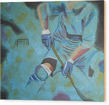 Sports Hockey-2 Wood Print by Vitor Fernandes VIFER