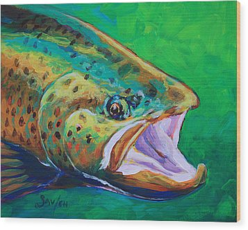 Spring Time Brown Trout- Fly Fishing Art Wood Print by Savlen Art