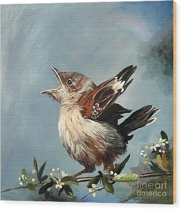 Spring's Promise - Mockingbird Baby Wood Print by Suzanne Schaefer