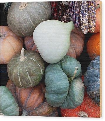 Squash Medley Wood Print by Indigo Schneider