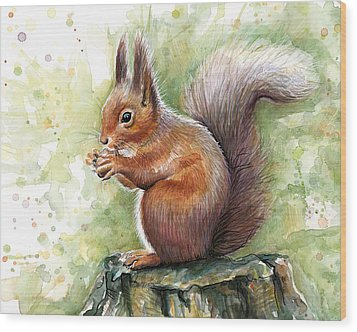 Squirrel Watercolor Art Wood Print by Olga Shvartsur