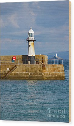St Ives And Godrevy Lighthouses Cornwall Wood Print by Terri Waters