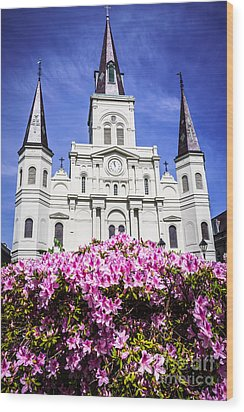 St. Louis Cathedral And Flowers In New Orleans Wood Print by Paul Velgos