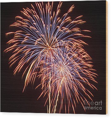 St Louis Fireworks Wood Print by Philip Pound