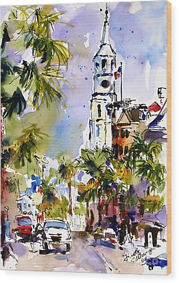 St Michael's Church Charleston South Carolina Wood Print by Ginette Callaway