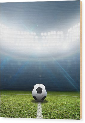 Stadium And Soccer Ball Wood Print by Allan Swart