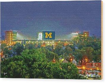 Stadium At Night Wood Print by John Farr