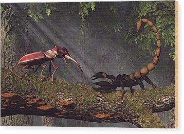 Stag Beetle Versus Scorpion Wood Print by Daniel Eskridge