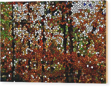 Stained Glass Autumn Colors In The Forest  Wood Print by Lanjee Chee