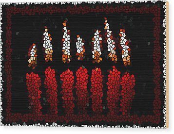Stained Glass Candle Wood Print by Lanjee Chee