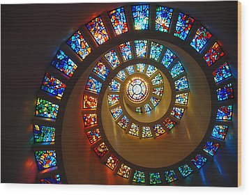 Stained Glass Spiral Wood Print by James Kirkikis
