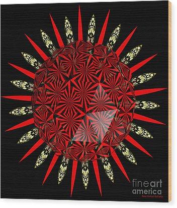 Stained Glass Window Kaleidoscope Polyhedron Wood Print by Rose Santuci-Sofranko