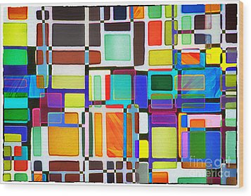 Stained Glass Window Multi-colored Abstract Wood Print by Natalie Kinnear