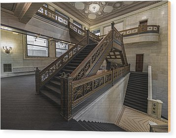 Stairwell Chicago Cultural Center Wood Print by Steve Gadomski