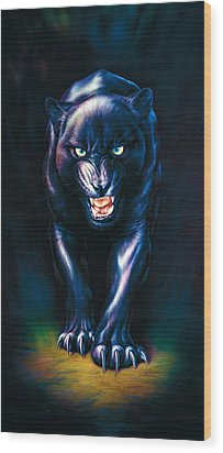 Stalking Panther Wood Print by Andrew Farley