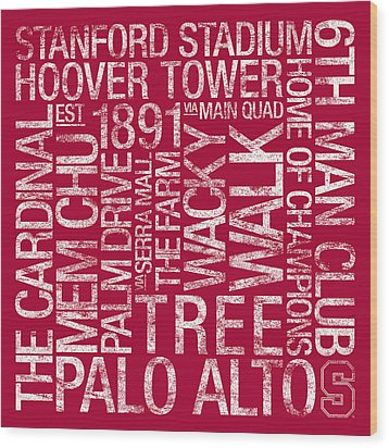 Stanford College Colors Subway Art Wood Print by Replay Photos