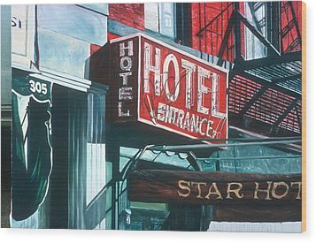 Star Hotel Wood Print by Anthony Butera