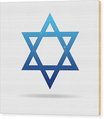 Star Of David Wood Print by Aged Pixel