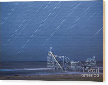 Starjet Under The Stars Wood Print by Michael Ver Sprill