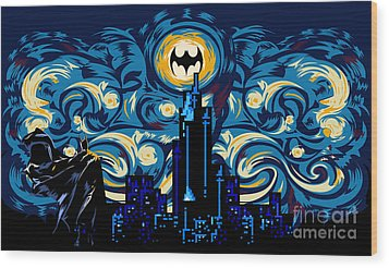 Starry Knight Wood Print by Three Second