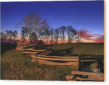Stars At Sunrise On The Blue Ridge Wood Print by Dan Carmichael
