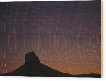 Startrails Over Shiprock In The Four Wood Print by Tim Fitzharris