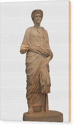 Statue Of A Roman Priest Wearing A Toga Wood Print by Tracey Harrington-Simpson