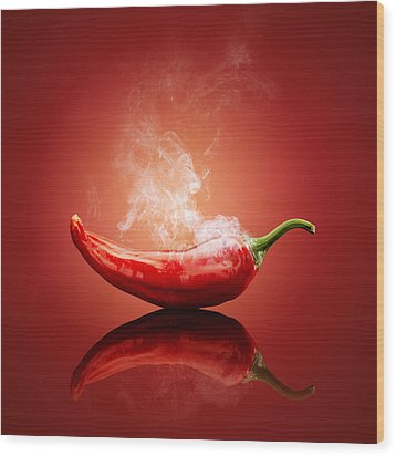 Steaming Hot Chilli Wood Print by Johan Swanepoel