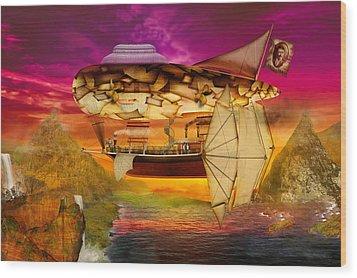 Steampunk - Blimp - Everlasting Wonder Wood Print by Mike Savad