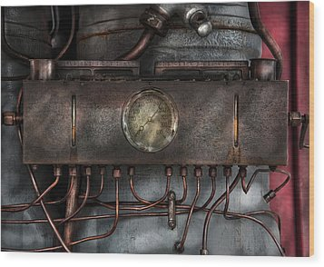 Steampunk - Connections   Wood Print by Mike Savad