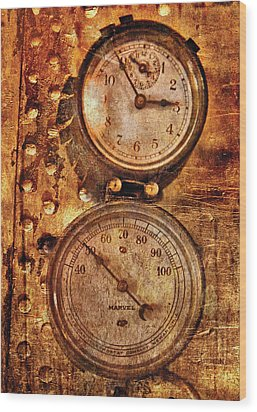 Steampunk - Gauges Wood Print by Mike Savad
