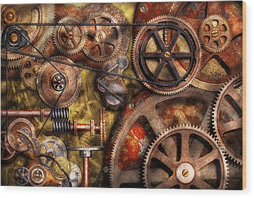 Steampunk - Gears - Inner Workings Wood Print by Mike Savad