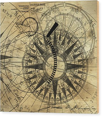 Steampunk Gold Compass Wood Print by James Christopher Hill