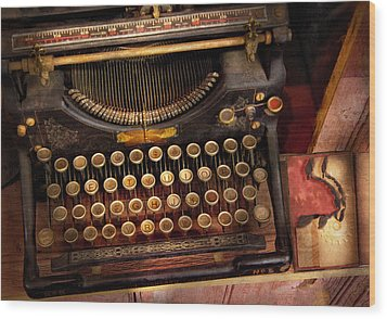 Steampunk - Just An Ordinary Typewriter  Wood Print by Mike Savad