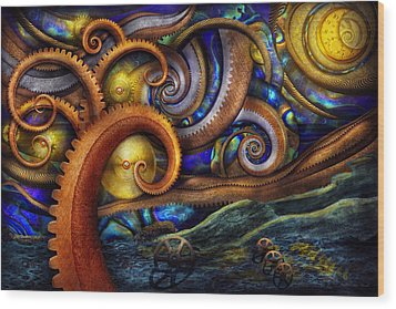 Steampunk - Starry Night Wood Print by Mike Savad
