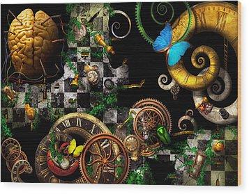 Steampunk - Surreal - Mind Games Wood Print by Mike Savad