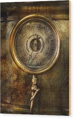 Steampunk - The Pressure Gauge Wood Print by Mike Savad