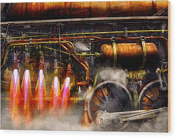 Steampunk - Train - The Super Express  Wood Print by Mike Savad