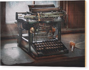 Steampunk - Typewriter - A Really Old Typewriter  Wood Print by Mike Savad
