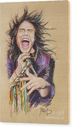 Steven Tyler Wood Print by Melanie D