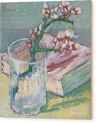 Still Life    A Flowering Almond Branch Wood Print by Vincent Van Gogh